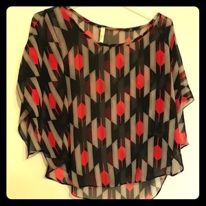 Black and Red Sheer Blouse